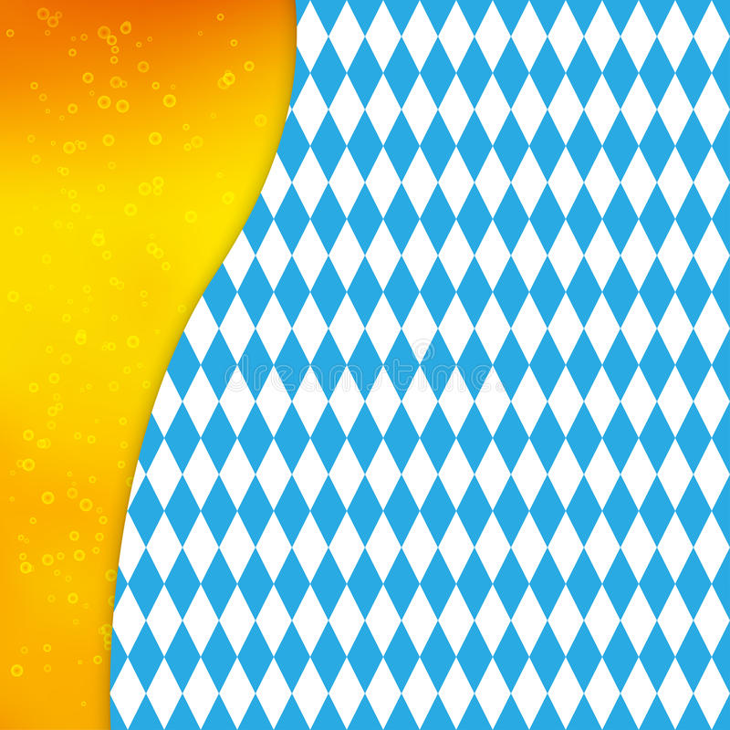 Background with Bavarian flag and silhouette of beer mug. Design for Oktoberfest or other festival. Vector background with Bavarian flag and silhouette of beer vector illustration