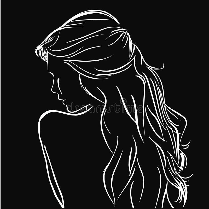 Background With Beautiful Back Of Girl White Line On Black Logo Concept Icon Nature Hair Stock Vector Illustration Of Background Abstract 181158578