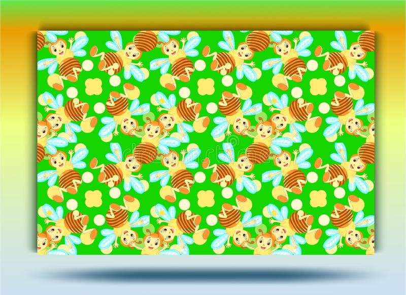 Background bee pattern.Set. royalty free illustration