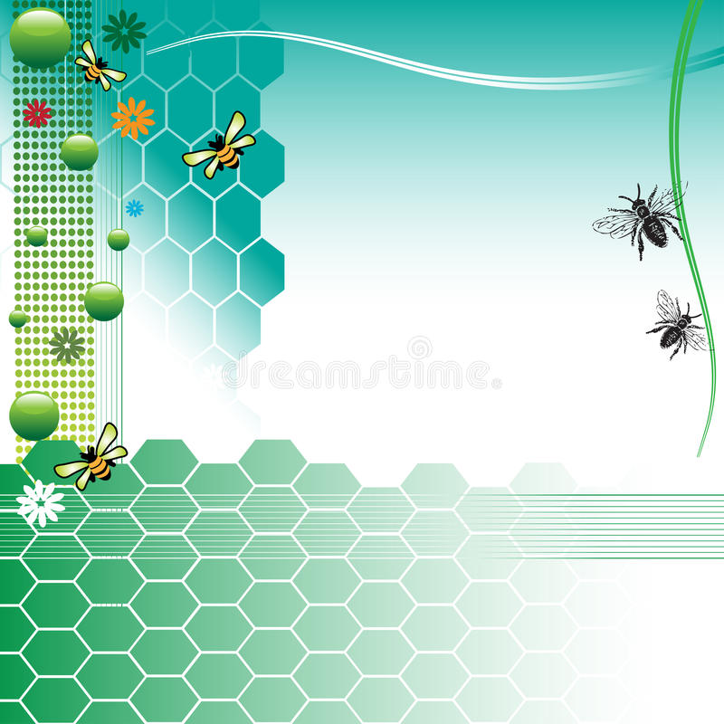 Background with bees stock illustration