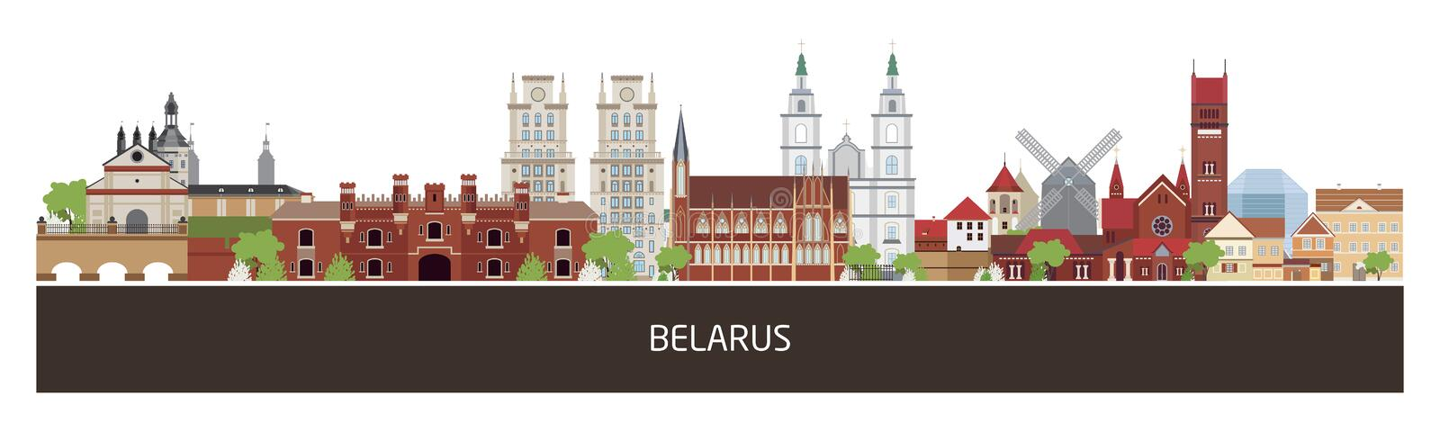 Background with Belarus country buildings and place for text. horizontal orientation banner, flyer, header for site. Background with Belarus country buildings royalty free illustration