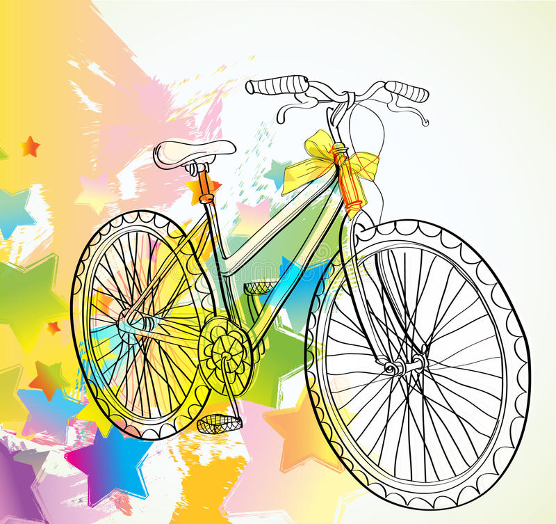 Background with bicycle and stars