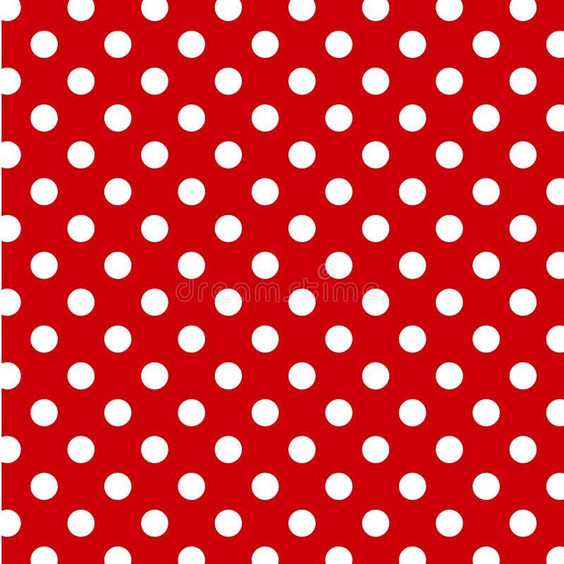 background big dots polka red white 皇族释放例证