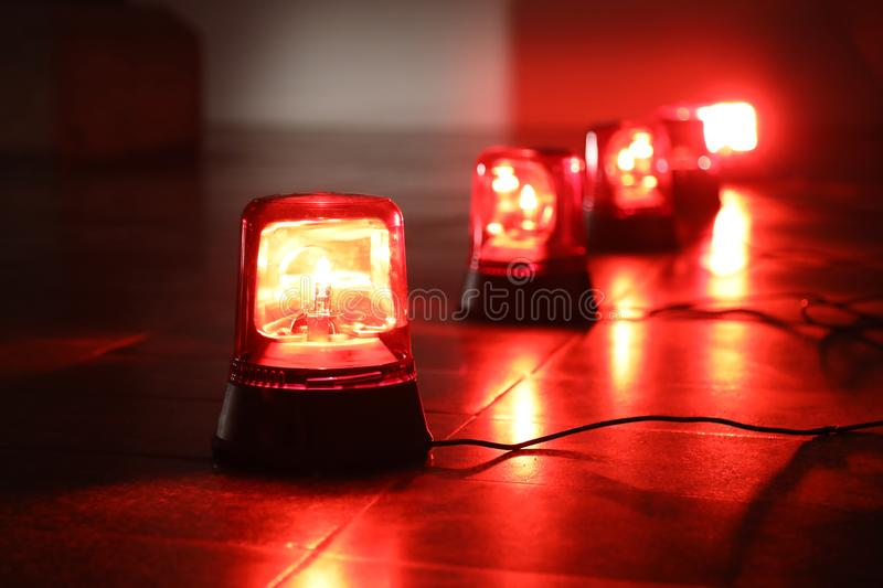 Background with red flashing alarm lights. Background with big red flashing alarm lights stock photos