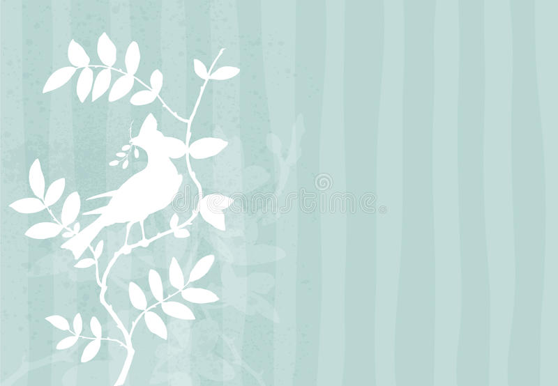 Download Background With Bird On A Branch Stock Vector - Illustration of silhouette, elegant: 18598918