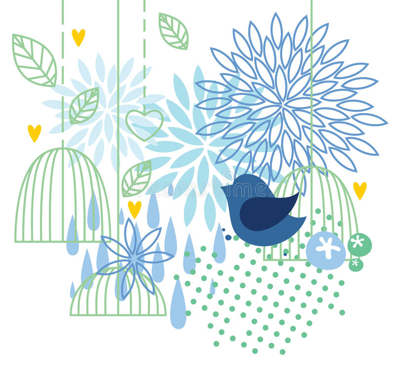 Background with bird and cage vector illustration