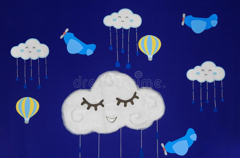 Background for birthday party, with airplanes, balloons and clouds smiling in a beautiful blue sky vector illustration