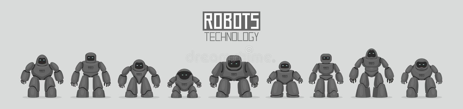 Background of Black Different Robots. Isolated on gray background vector illustration
