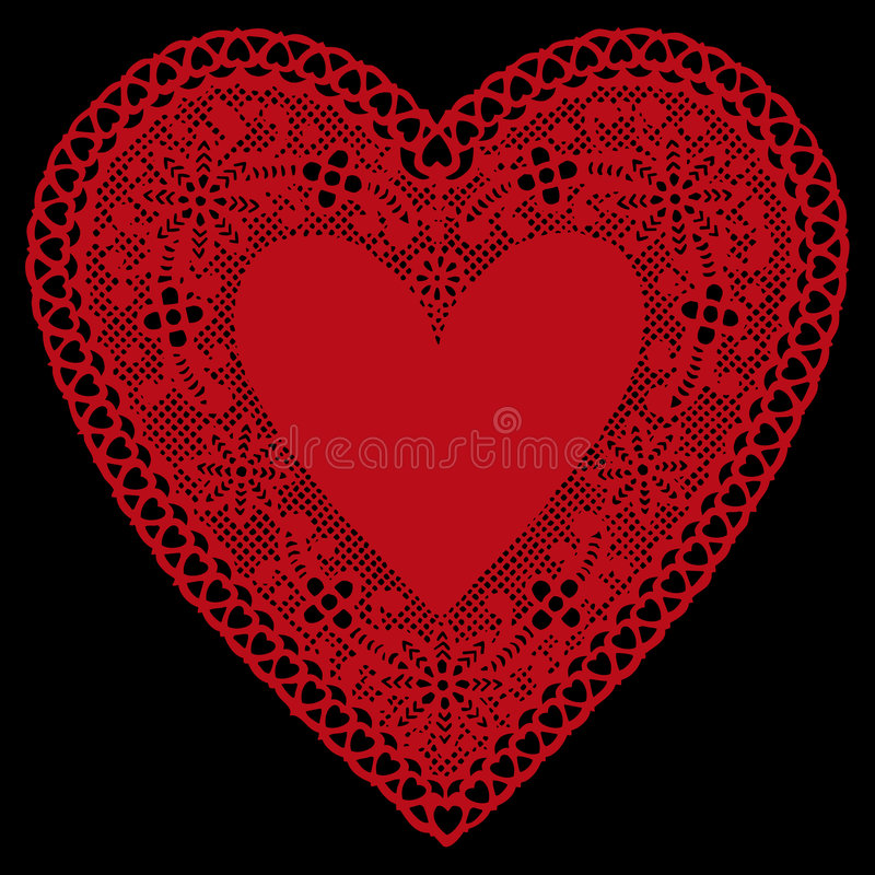background black doily heart lace red иллюстрация штока