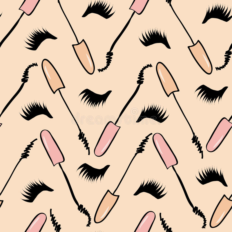 Background with black mascara. And lush lashes royalty free illustration