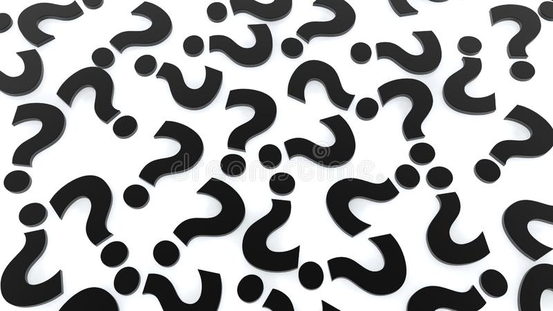 Background of black question marks on white background stock image