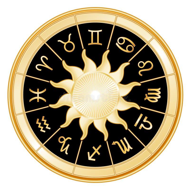 background black signs sun zodiac διανυσματική απεικόνιση
