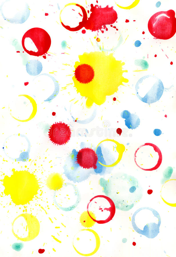 The background of the blobs, spray, prints. Traces of a paint of different colours royalty free illustration