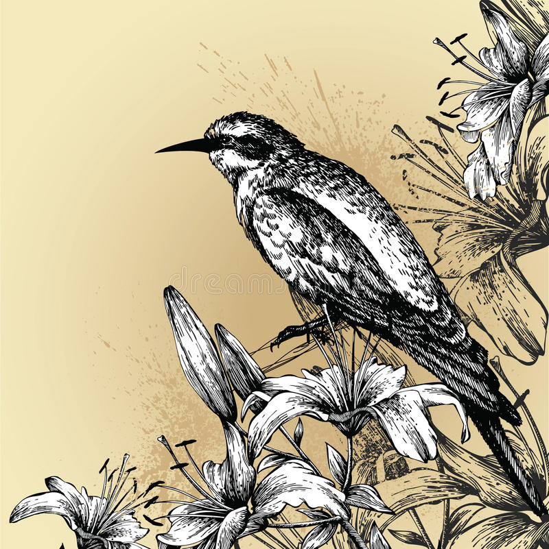 Background with blooming lilies and a sitting bird