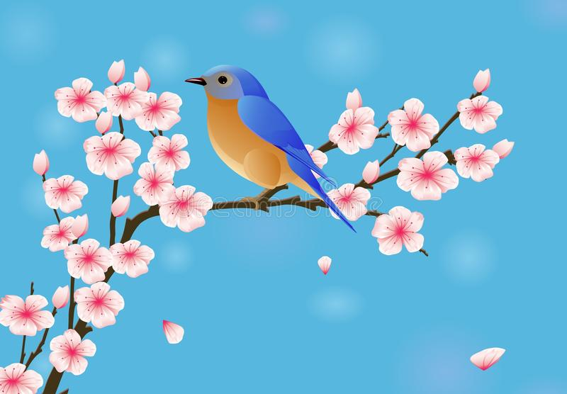 Download Background With Blossom And Bird Stock Vector - Illustration of nature, backdrop: 23607616