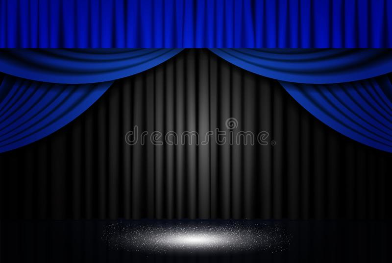 Background with blue and black theatre curtain stock image