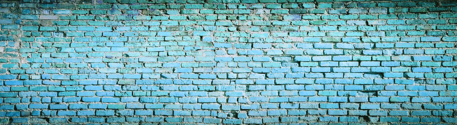 Background of blue brick wall pattern texture. High resolution p. Anorama royalty free stock photography