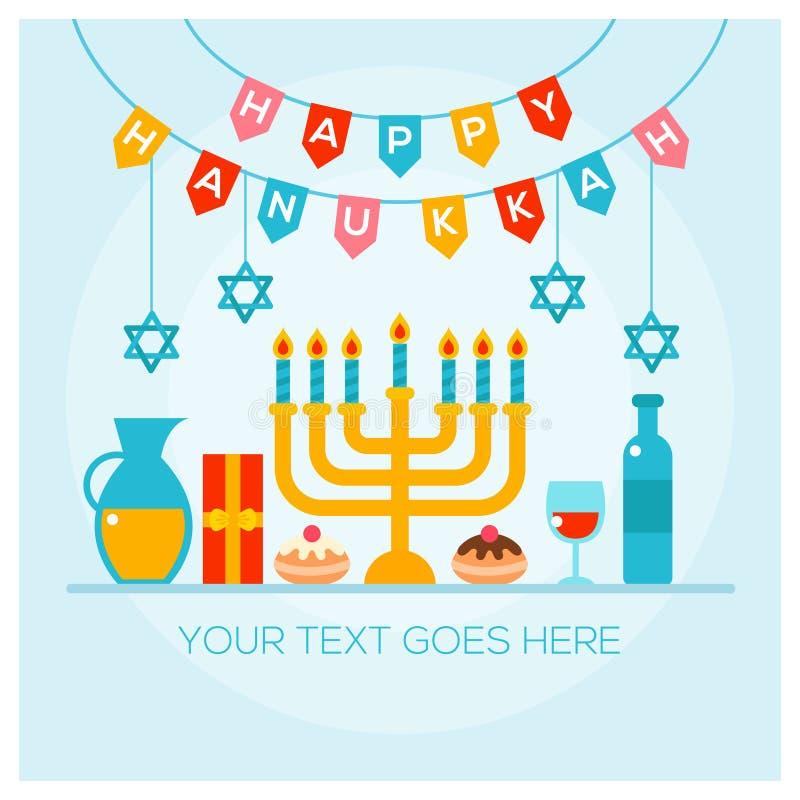 Happy Hanukkah greeting card with Torah, menorah and dreidels stock illustration