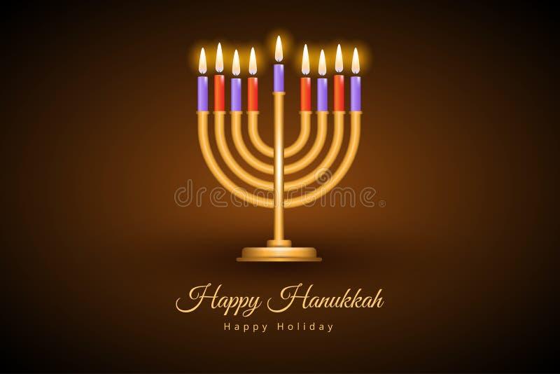 Happy Hanukkah greeting card with Torah, menorah and dreidels royalty free illustration