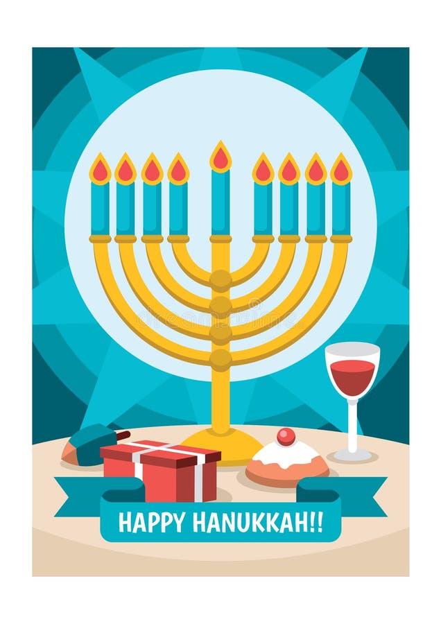 Happy Hanukkah greeting card with Torah, menorah and dreidels vector illustration