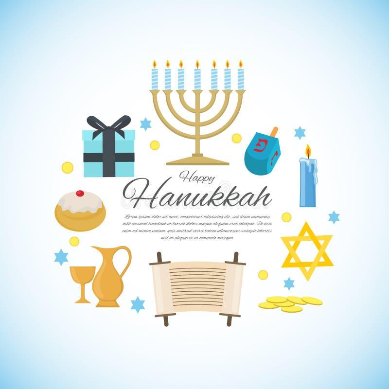 Happy Hanukkah greeting card with Torah, menorah and dreidels royalty free stock photography