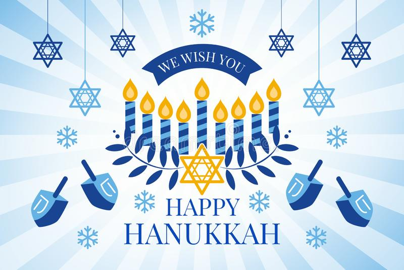 Happy Hanukkah greeting card with Torah, menorah and dreidels stock photography