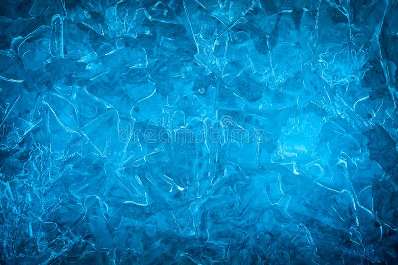 Background of blue cold winter ice. Texture of frozen surface. Frost pattern.  stock photography