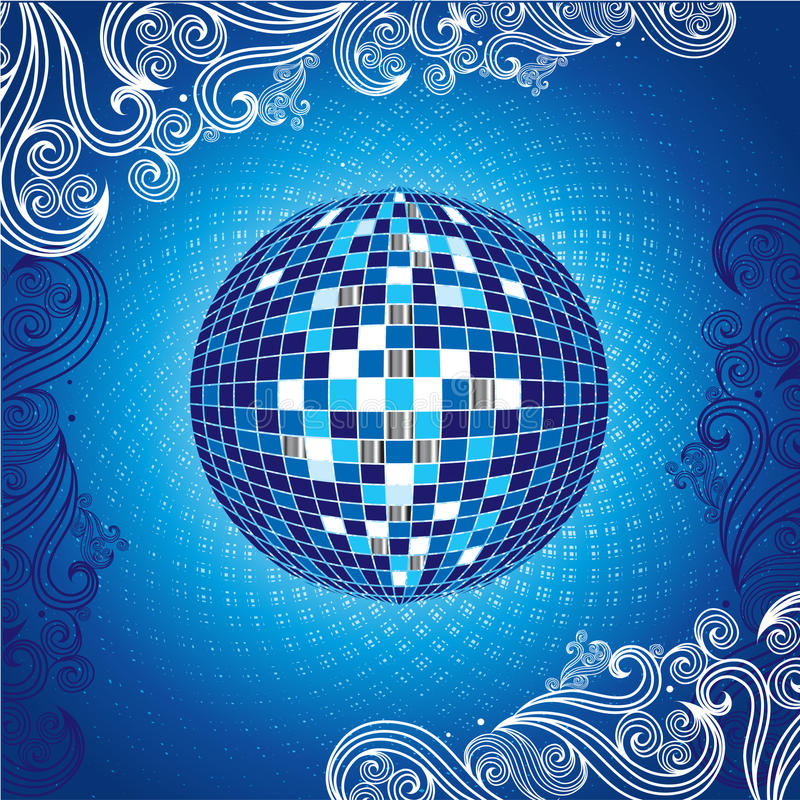 Background With Blue Disco-ball Royalty Free Stock Photography
