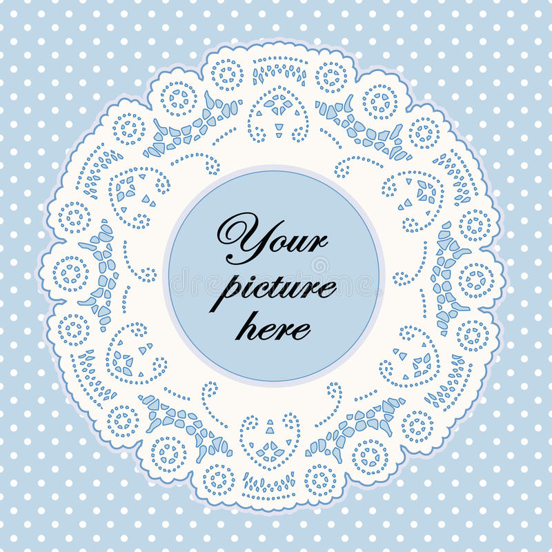 background blue doily dot frame lace pastel polka бесплатная иллюстрация