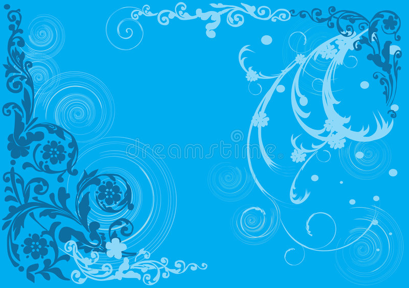 Background With Blue Floral Pattern Royalty Free Stock Photo