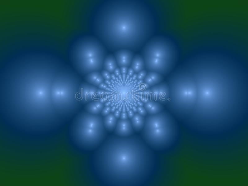 Cool water bed. Background of blue with green kaleidoscope of spheres in a pale blurry setting royalty free illustration