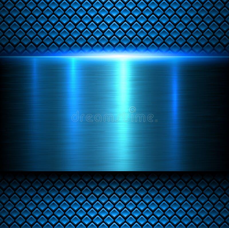 Background blue metal texture vector illustration