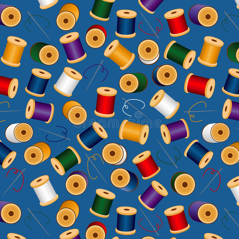 background blue needles seamless threads 库存例证