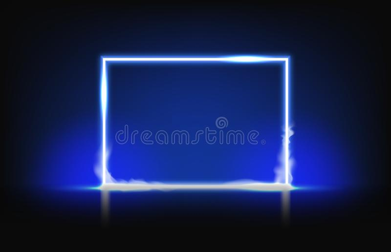 Background of blue neon frame with smoke royalty free illustration