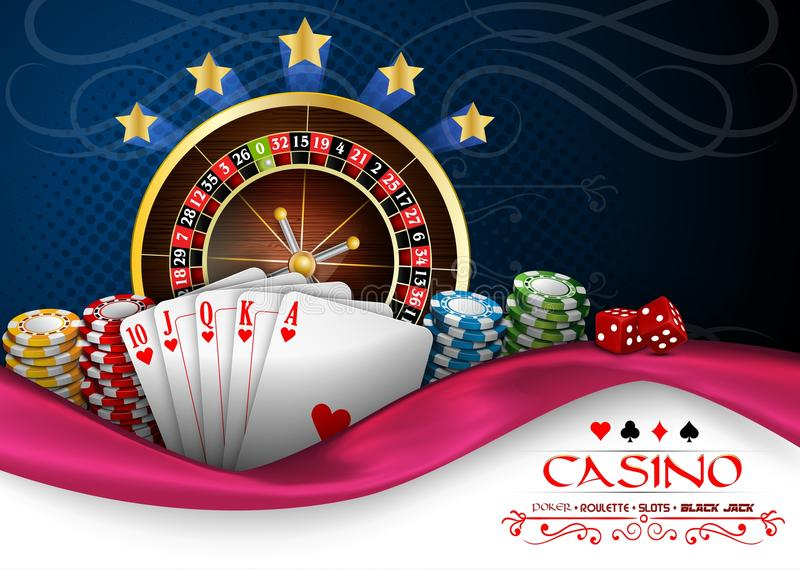 Background blue pink with casino roulette wheel, cards and chips vector illustration