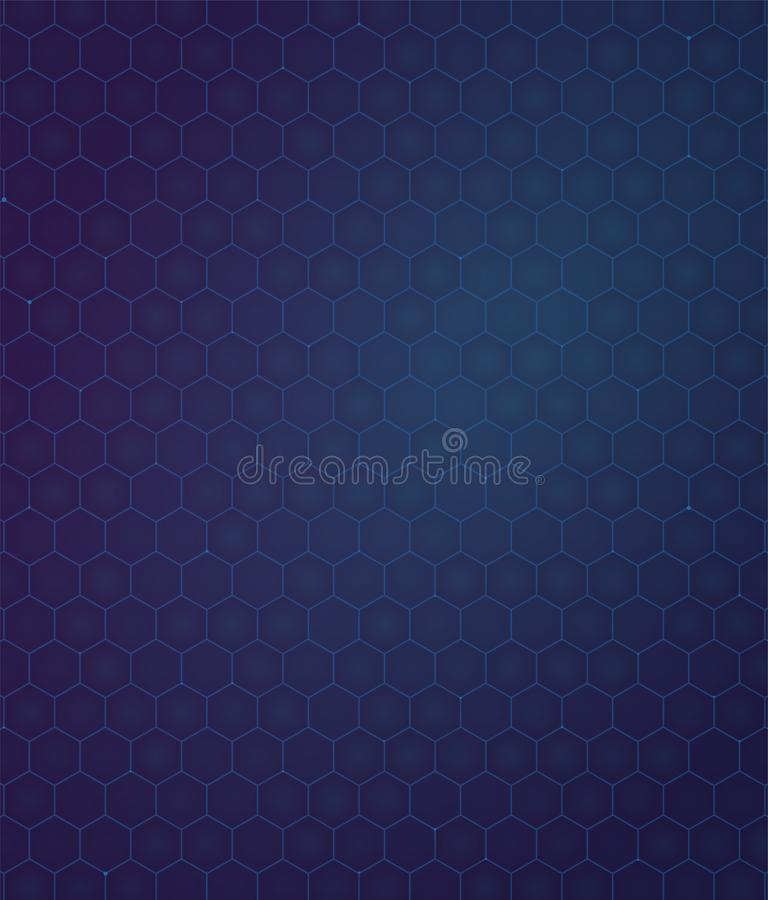 Background blue and purpule gradient hexagon. Modern technology pattern stock illustration