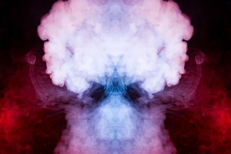 Background of blue, white and pink wavy smoke in the form of a f royalty free stock photo