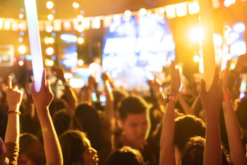 Background blur Event Audience At Outdoor Music Festival royalty free stock photos