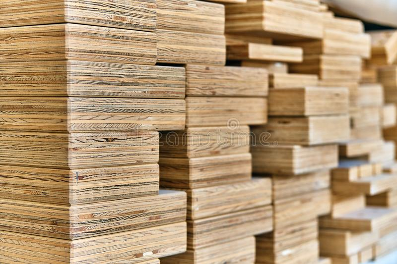 Ends of the plywood beams stock photography