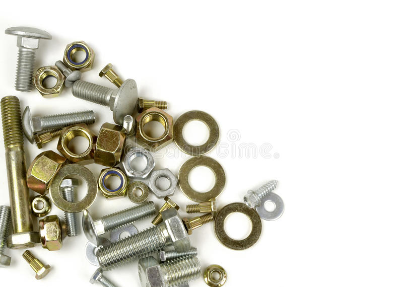 Background with bolts and nuts. royalty free stock images