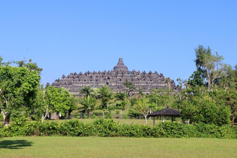 Borobudur Temple in Yogyakarta, Java, Indonesia. Background of Borobudur Temple in Yogyakarta, Java, Indonesia with blue sky stock photo