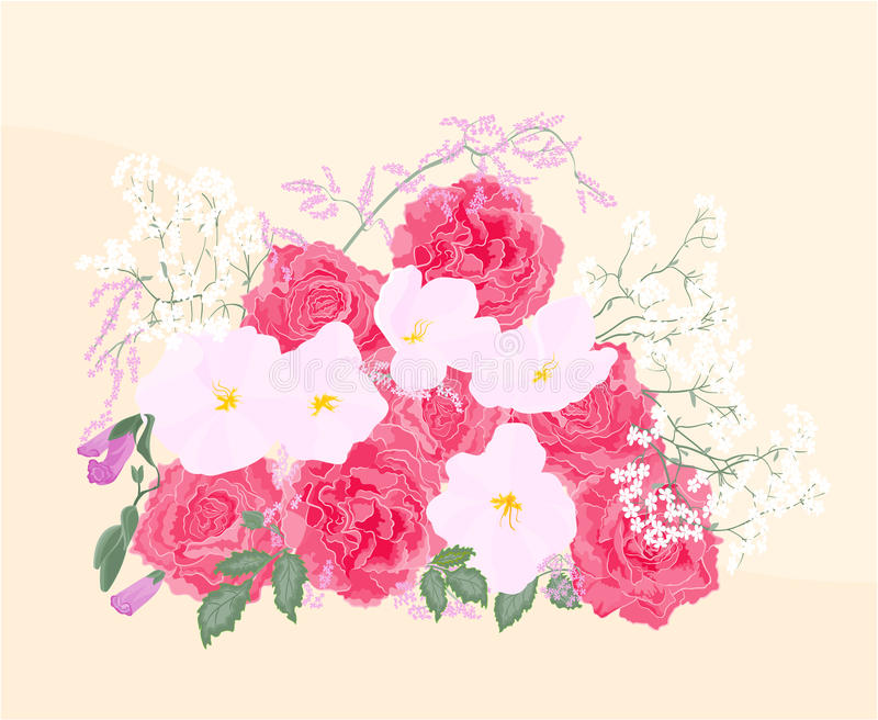 Download Background Bouquet Of Roses And Orchid Stock Vector - Illustration of design, festive: 39514959