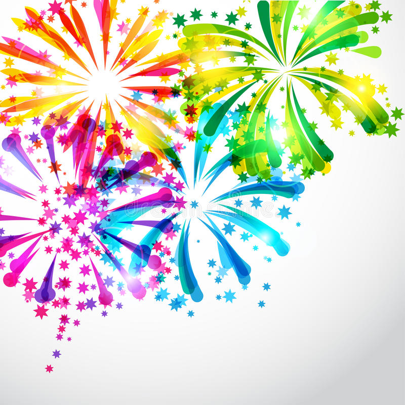 Background with bright colorful fireworks and. Salute vector illustration