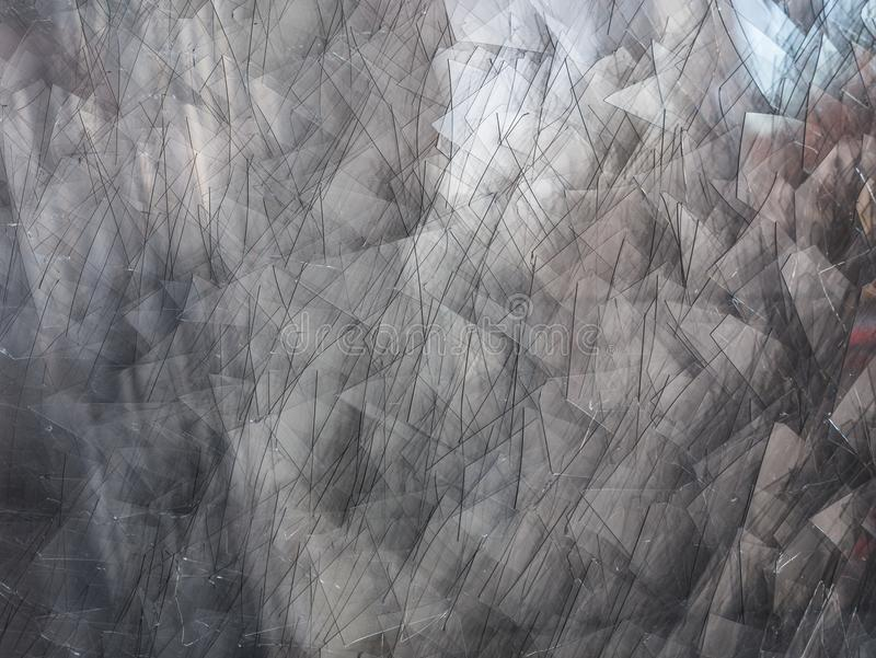 Background of broken glass fragments, macro stock images
