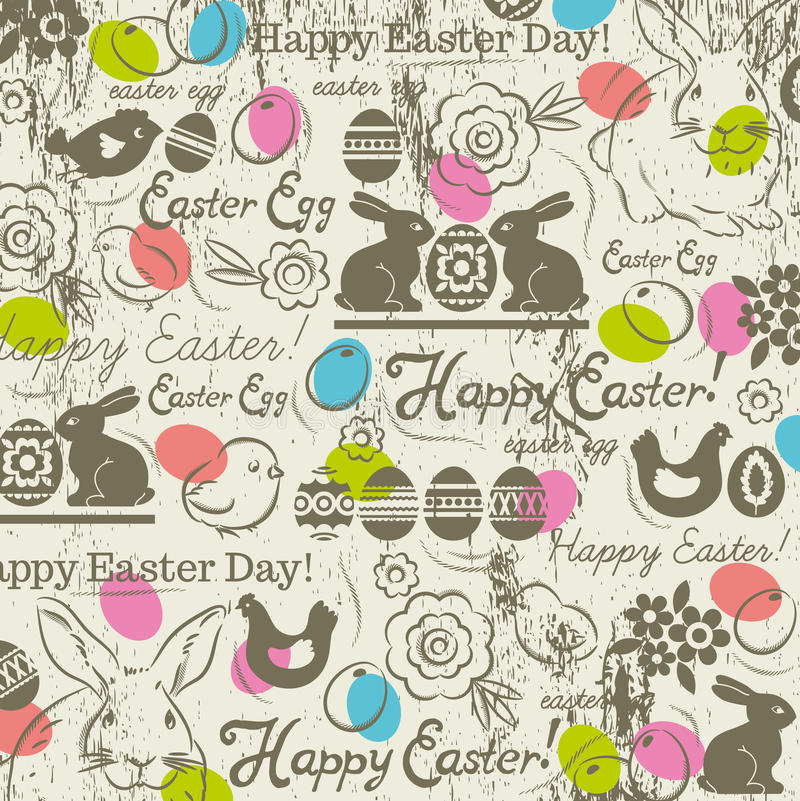 Background with bunny, easter eggs, flower, chicks, hen. And greetings text Happy Easter. Decorative element in Eastern style. Decorative composition suitable royalty free illustration