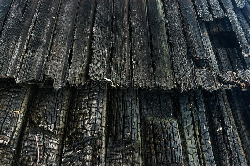 Background of the burned wall surface of wooden planks stock image