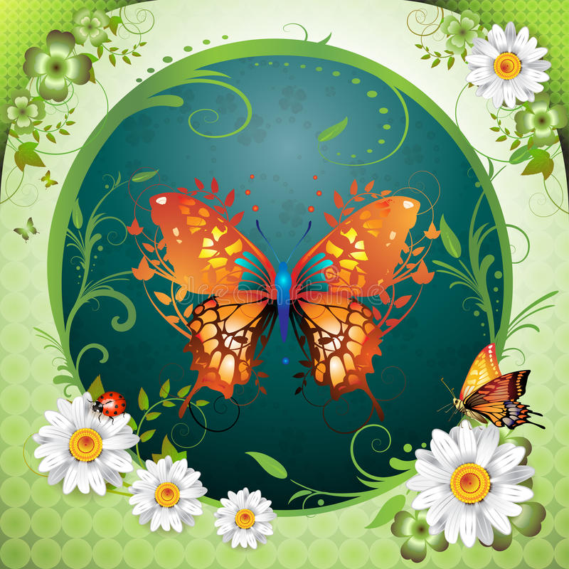 Background with butterflies royalty free illustration