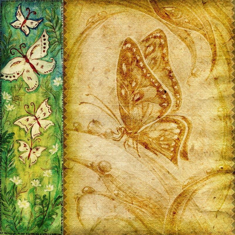 background butterflies vintage 库存例证