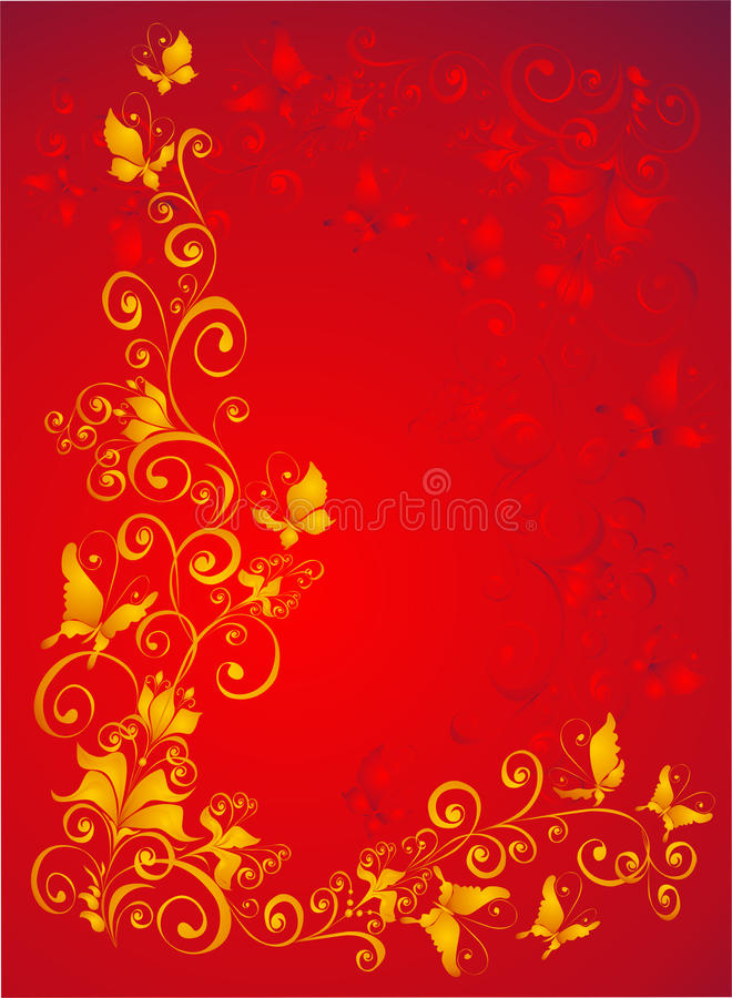 Download Background With Butterfly, Florel Ornate, Vector Royalty Free Stock Images - Image: 13339709