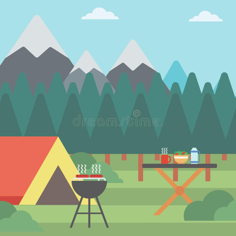 Background of camping site. vector illustration